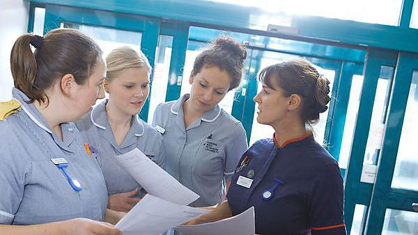 <p>Nursing students working with qualified nurses and patients at Cambourne Redruth Community Hospital.<br></p>