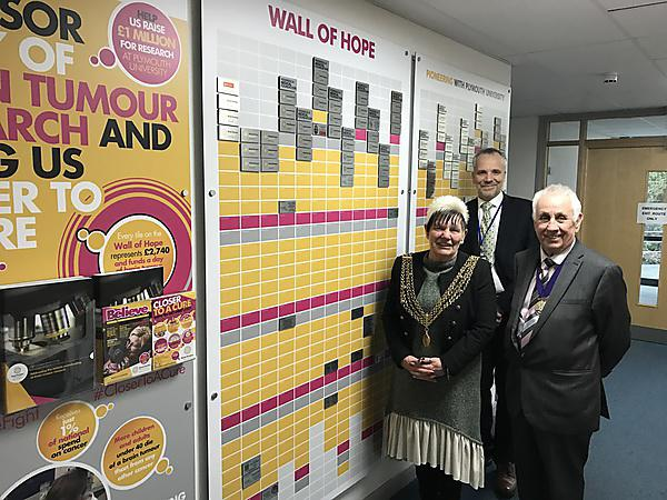 <p>The Lord Mayor of Plymouth Councillor Pauline Murphy, her consort Councillor Brian Vincent and Professor Oliver Hanemann, Associate Dean of Research at Plymouth University Peninsula Schools of Medicine and Dentistry</p>
