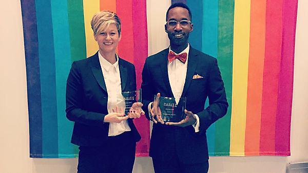 Amanda Bluglass and Rev Bertram Johnson at the Parity Awards 2016.