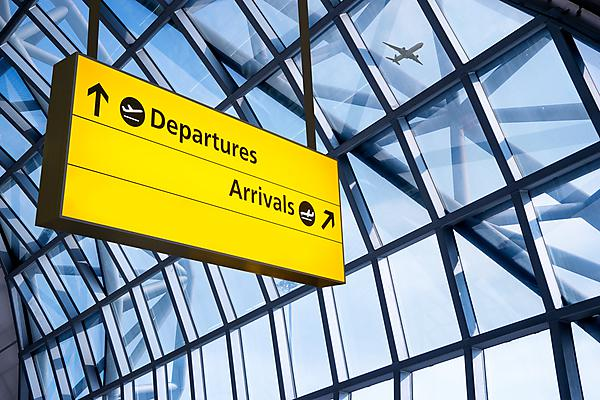 <p>CAA guidelines. Check in, Airport Departure &amp; Arrival information board sign; image courtesy of Shutterstock,&nbsp;Copyright: alice-photo</p>