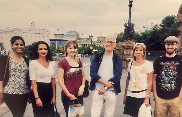 <p>Kati O'Brien, second left, with colleagues from the Robert Koch Institute in Berlin</p>