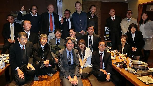 <p>Profesor Thompson with members of the Japanese Environment Ministry</p>