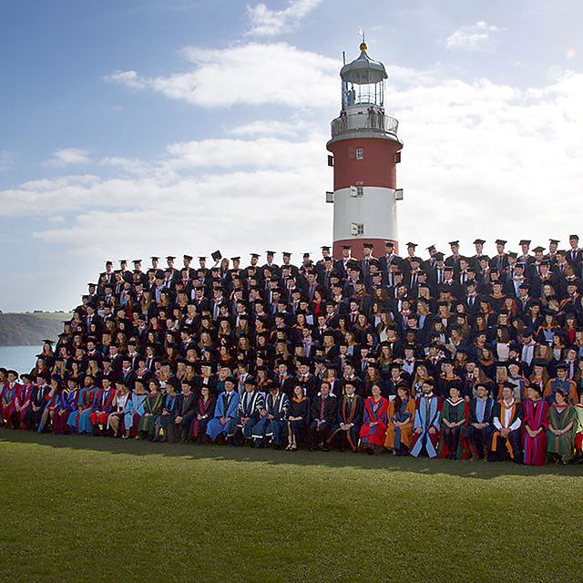 <p>Graduands on Plymouth Hoe</p>