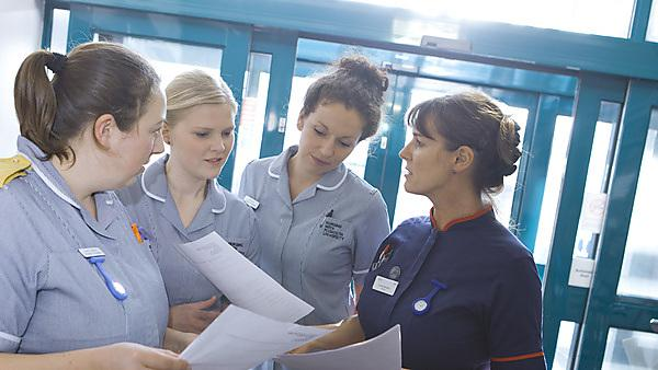 <p>Nursing students working with qualified nurses and patients</p>