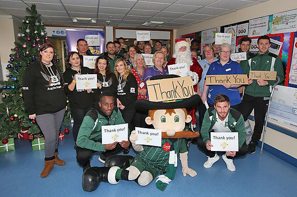 <p>UPSU Cheerleaders (Storm) help Plymouth Argyle (PAFC) at Derriford hospital to visit children at Christmas and deliver presents </p>