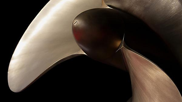 <p>New large boat propeller in polished brass. Shallow depth of field with focus point on screw head in centre.<br></p>