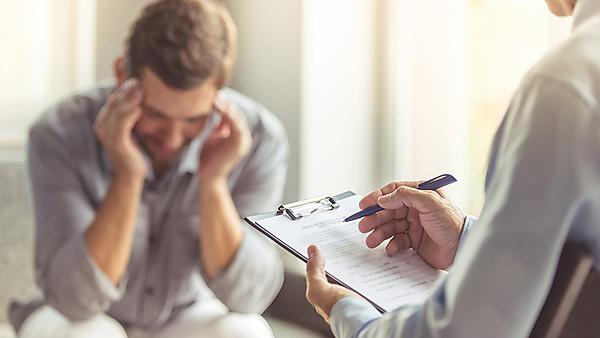 <p>  </p><div>Man at the psychotherapist</div>  <br><p></p> Usage: Image courtesy GettyImages