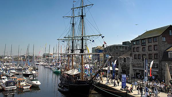 Tall ship in Plymouth Barbican