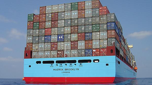 stern view of a container ship