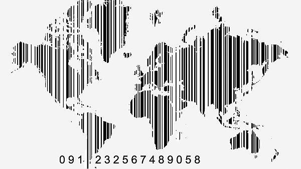 World map as barcode