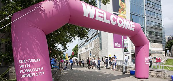 Undergraduate open day - welcome arch on campus