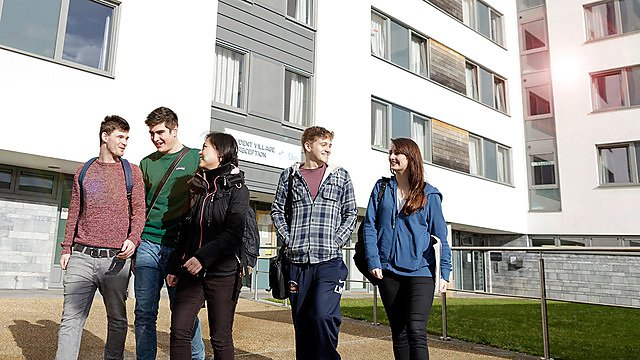 Students outside the Francis Drake halls of residence on campus