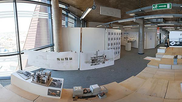 Architecture studio space in Roland Levinsky Building - preparation for the graduate show
