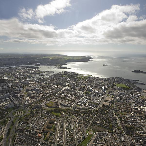 Aerial view of Plymouth City and Sound
