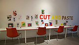 Visitors were encouraged to create their own works of art at Cut and Paste, an exhibition of work by iconic graphic designer Ivan Chermayeff.