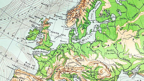<p>Antique map of Europe (19th century) - physical geography, contour map</p>