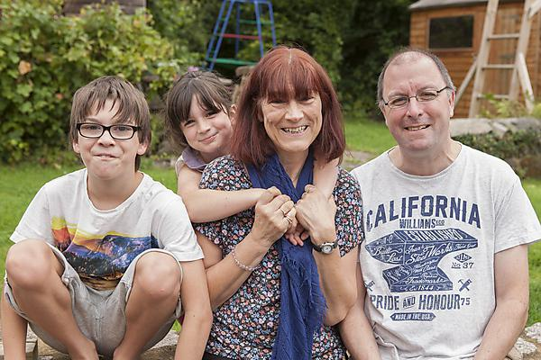 <p>Lyn Fearn with her children Mael and Amy, and husband Eifion, who featured on The One Show</p>