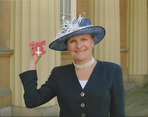 <p>Professor Liz Kay and her MBE</p>