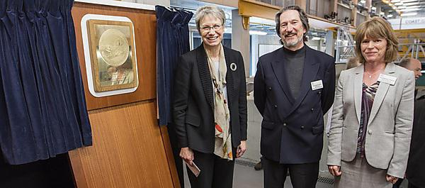 <p>Professor Judith Petts CBE, Professor Kevin Jones and Professor Deborah Greaves at the launch of the University's new School of Engineering, Computing and Mathematics</p>