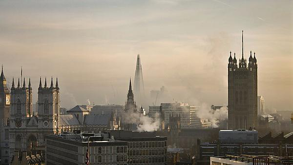 <p>London skyline on a fresh morning - looking out over the Shard, Westminster and Big Ben</p>