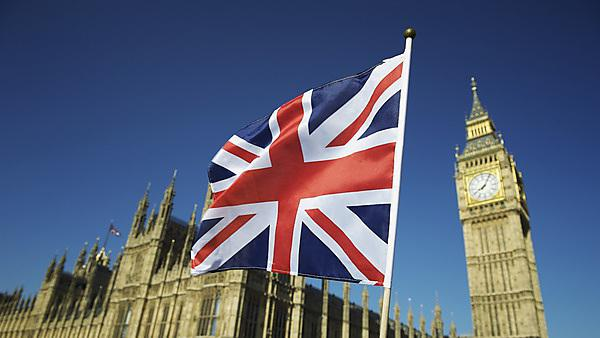 <p>Union Jack British flag flies at Houses of Parliament, London</p>
