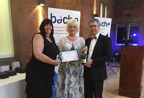 Pictured (L-R) are Lynn Webster, Consultant in Cleaning Compliance, Audit and Training; Sandra Hussey; and Anthony Tyrrell, Chair of BACHE and Facilities Manager at The Courtauld Institute of Art, London