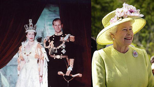 <p>Queen Elizabeth II with Prince Phillip at her Coronation, and in more recent times.</p>