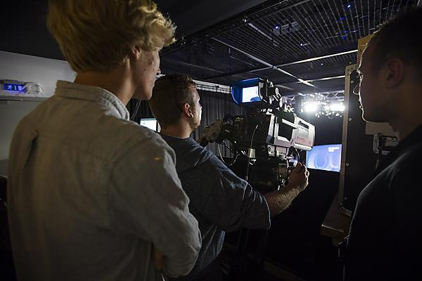 <p>Media arts students were shown behind the scenes of the Question Time set</p>