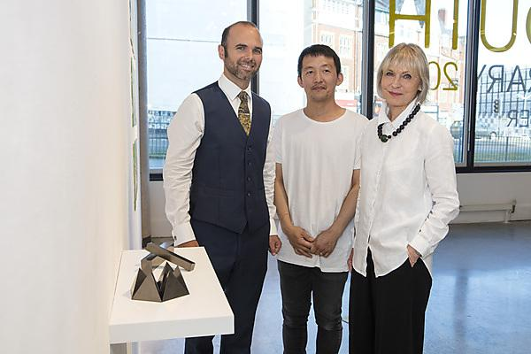 James Edgar (Artmill Gallery & Framing Centre), Kazuya Tsuji (winning artist of the Plymouth Contemporary Award) and Isabell Peirson (Artmill Gallery and Framing Centre)