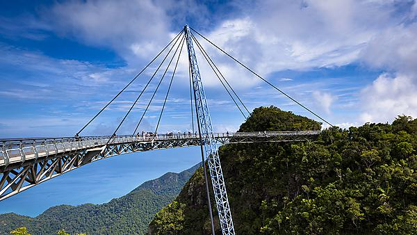 <p>Amazing cable bridge over the tropical rainforest island landscape in Langkawi, Malaysia. Image courtesy of Getty Images.<br></p>