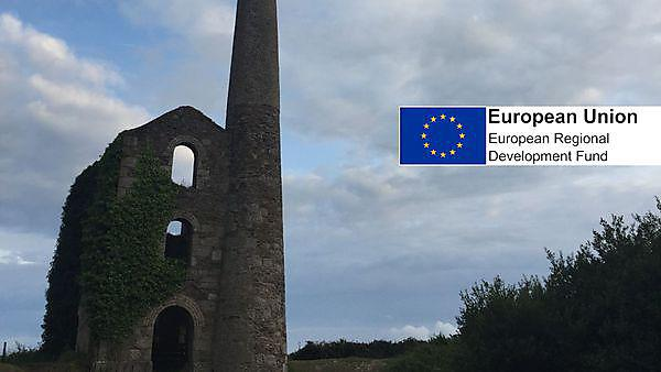 <p>Cornwall mining landscape with European funding logo</p>