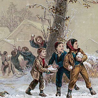 <p>Getty image - Victorian children throwing snowballs</p>