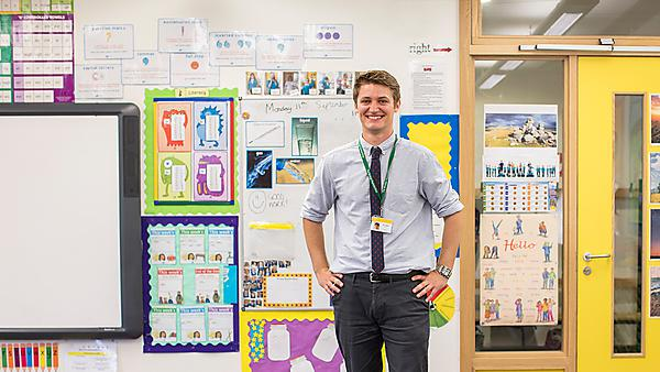<p>Charles Randall, PGCE Primary graduate who now works at a local primary school teaching year three</p>