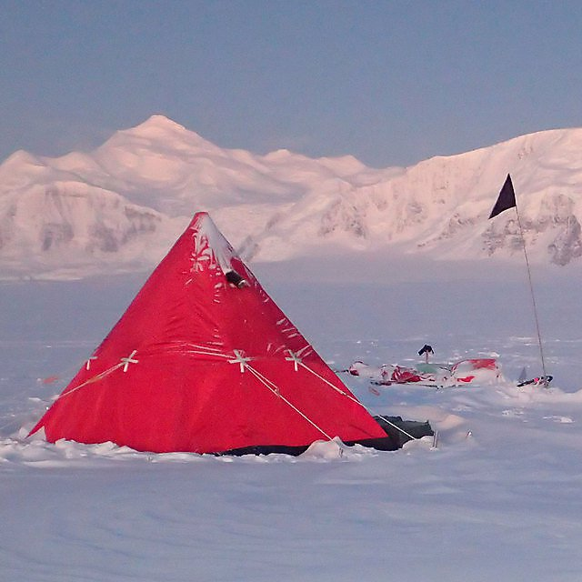 <p>One of our pyramid tents during winter field trip<br></p>