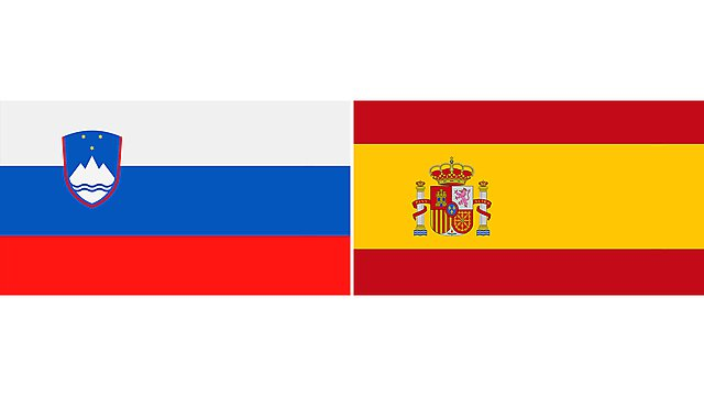 <p>slovenia and spain flags 2</p>