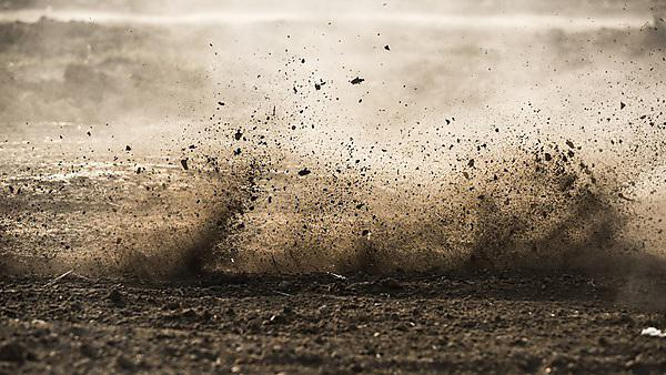 <p>Dirt fly after motocross roaring by</p>
