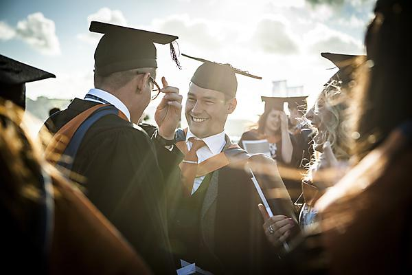 <p>Plymouth Business School graduates on Plymouth Hoe.</p>