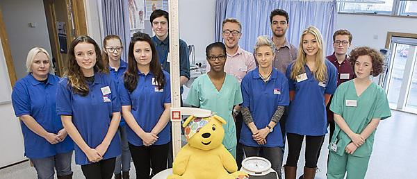 <p>BBC's Children in Need Pudsey Bear visits the University of Plymouth for a health assessment.<br>Healthcare students running health assessments in aid of Children in Need - ECGs, BMI and body fat measurements, lung function measurements <br></p>