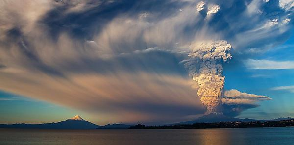 <p>Scenic air shot of Calbuco volcano erupting<br></p>