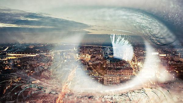 <p>Double exposure image of an eye with city</p>