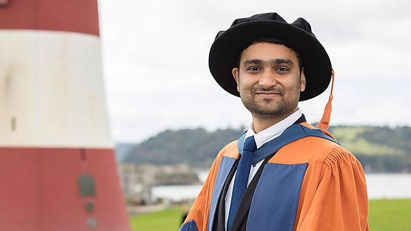 <p>Dr Vaibhav Tyagi graduating on Plymouth Hoe<br></p>