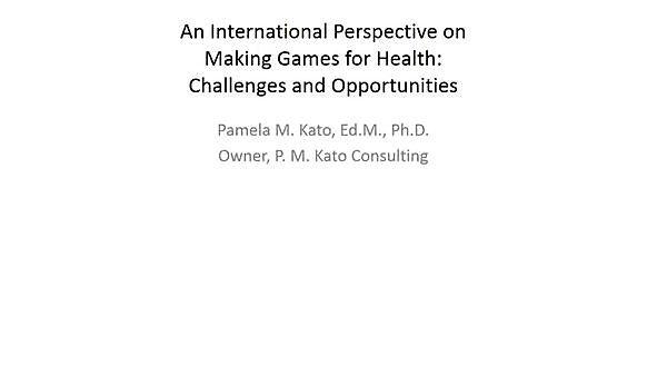 <p>Pamela M. Kato, Kato Consulting<br>An International Perspective on Making Games for Health: Challenges and Opportunities