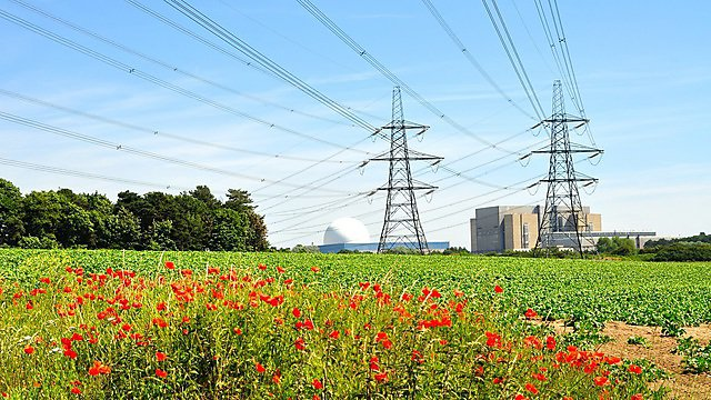 <p>Power lines coming from the nuclear power station at Sizewell in Suffolk, UK<br></p>