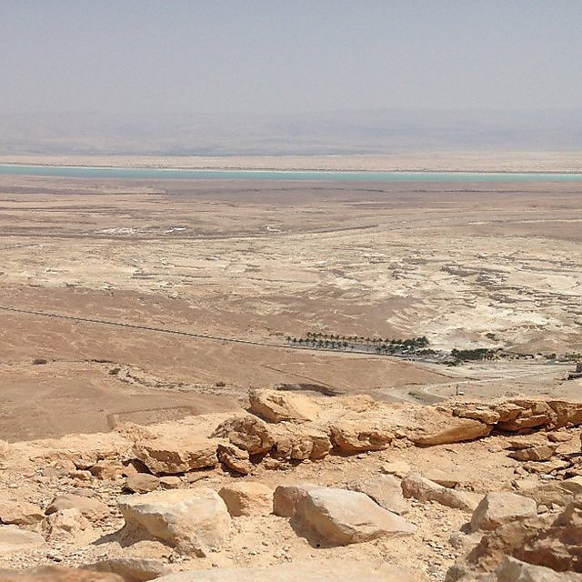 <p>The view to the drying the Dead Sea form the rock of Masada. Masada is an ancient fortress in southern Israel's Judean Desert.<br></p>