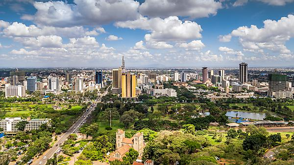 <p>Nairobi downtown, capital city of Kenya</p>