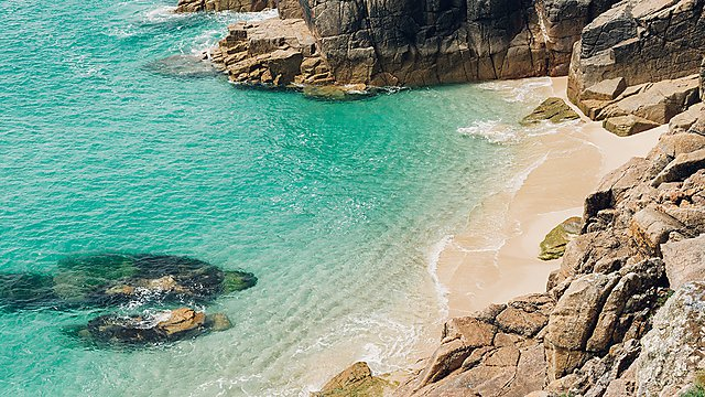 <p>Pedn Vounder and Porthcurno Beach, South Cornwall</p>