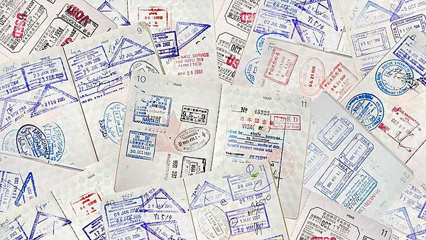 <p>Passport stamps for a variety of different countries<br></p>