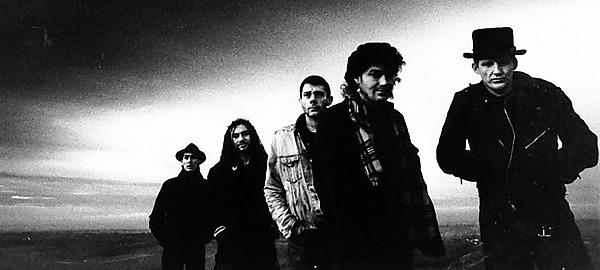 <p>Alan D Miles (far right) with The Levellers</p>