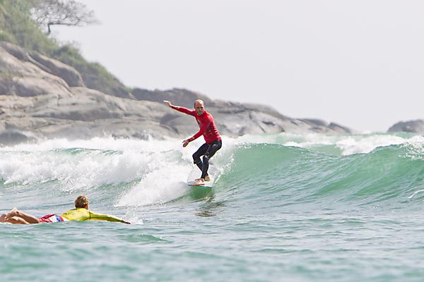<p>Ben Howey competing at the World Longboard Championship</p>