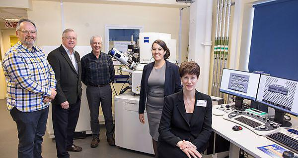 <p>From left:&nbsp;John Whiteman, Plessey Semiconductors;&nbsp;Keith Dicks, Oxford Instruments; Dr Roy Moate, PMCP Director, Plymouth Electron Microscopy Centre;&nbsp;Dr Natasha Stephen, PMCP Director, Plymouth Electron Microscopy Centre;&nbsp;Claire Pearce, PMCP Manager, Plymouth Electron Microscopy Centre.<br><br></p>